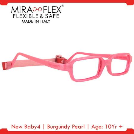 Miraflex: New Baby4 Unbreakable Kids Eyeglass Frames | 47/17 - Burgundy Pearl | Age: 10Yr (Black And Red Eyeglasses)