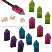 Mega Set Of 12 Crayon Shaped Pencil Sharpeners W/ Eraser - Cover & Receptacle For Dirt Shaving - Pink, Blue, Green, and Purple - Perfect Kids, Students, Girls Gift!