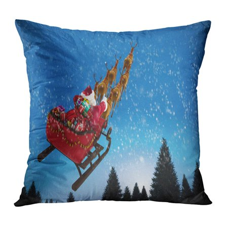 ECCOT Red Sleigh High Angle View of Santa Claus Riding on Sled Box Against Snow Falling Fir Tree Forest Calm Pillowcase Pillow Cover Cushion Case 18x18 inch
