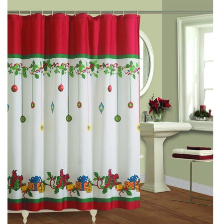 Christmas Shower Curtain Fabric Holiday Bath Ornaments Presents Gifts
