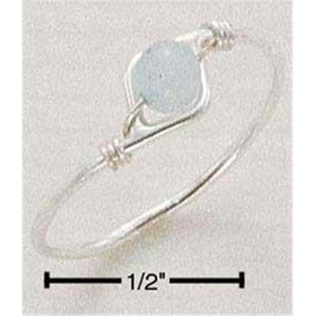 Sterling Silver Wire Ring with Aventurine Bead - Size 8