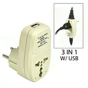 OREI 3 in 1 Israel Travel Adapter Plug with USB and Surge Protection - Grounded Type H - Palastine, Israel & More