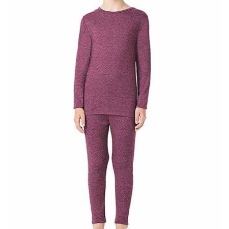 32 Degrees Heat Girls Long Sleeve Crew Neck and Legging Base Layer Set - Heather Fiction Fig (X-Large)