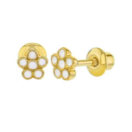 White Enamel 18k Gold Overlay - 18k Gold Plated White Enamel Little Flower Screw Back Earrings Infants Girls