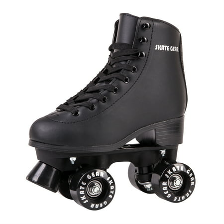 Cal 7 Roller Skates for Indoor & Outdoor Skating, Faux Leather Boot with Quad Design, Ankle Support Frame, Adults & Kids (Black, Youth 2) - Metal Roller Skates