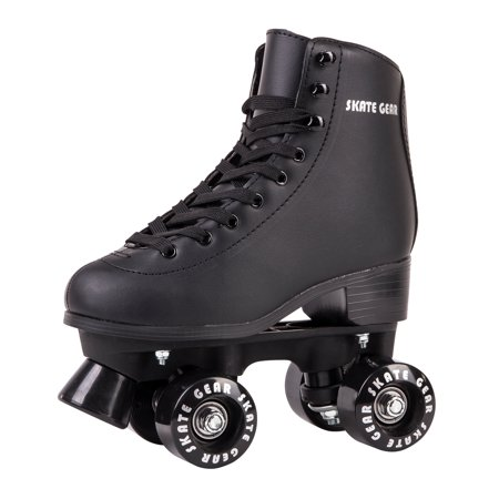 Cal 7 Roller Skates for Indoor & Outdoor Skating, Faux Leather Boot with Quad Design, Adults & Kids (Black, Youth