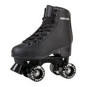 Cal 7 Roller Skates for Indoor & Outdoor Skating, Faux Leather Boot with Quad Design, Ankle Support Frame, Adults & Kids (Black, Youth 2)