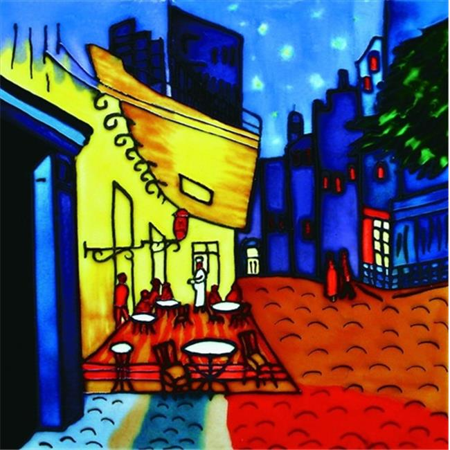 En Vogue BB-01 Cafe Terrace At Night By Van Gogh - Decorative Ceramic Art Tile - 8 in. x 8 in.