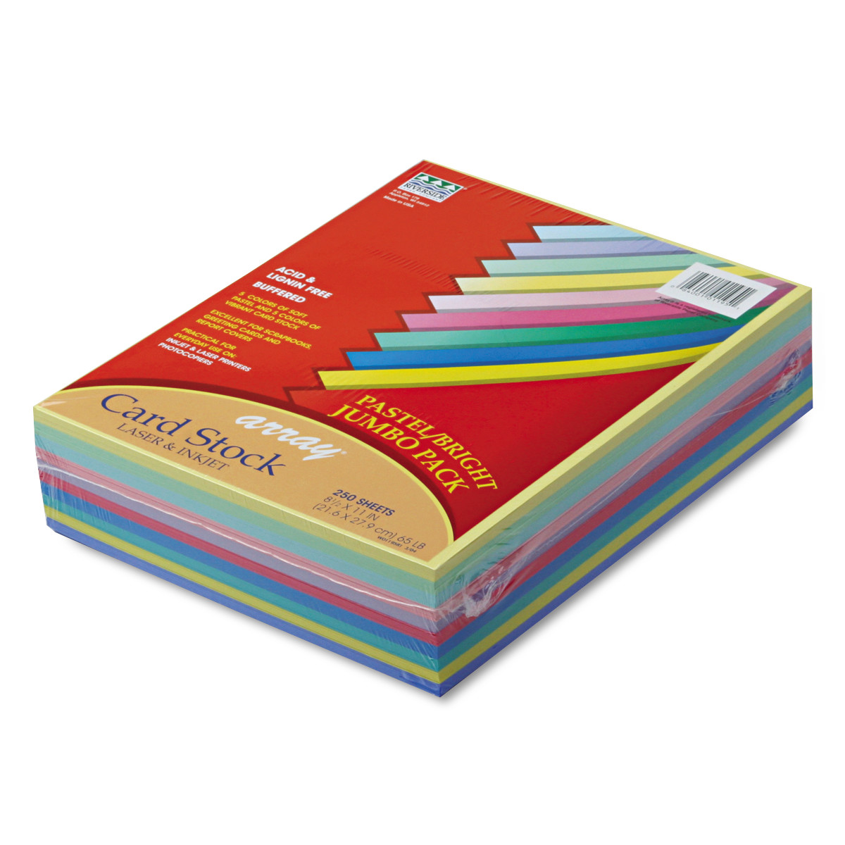 Multi colored cardstock paper - Pacon Array Card Stock 65 Lb Letter Assorted Lively Colors 250 Sheets Pack Walmart Com