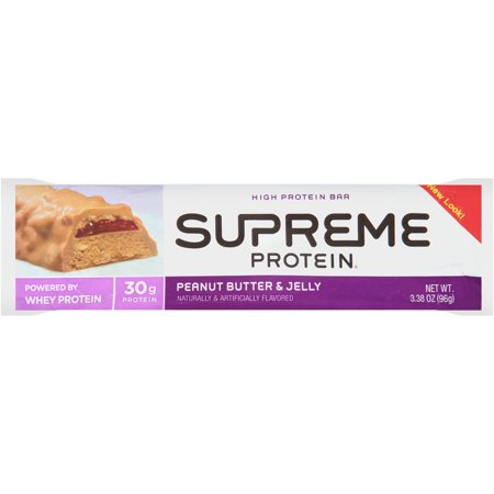 Supreme Protein Peanut Butter & Jelly High Protein Bar, 3.38 oz ...