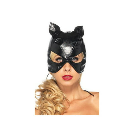Black Cat Mask Faux Leather Adult Halloween Accessory - Black Cat Superstitions Halloween
