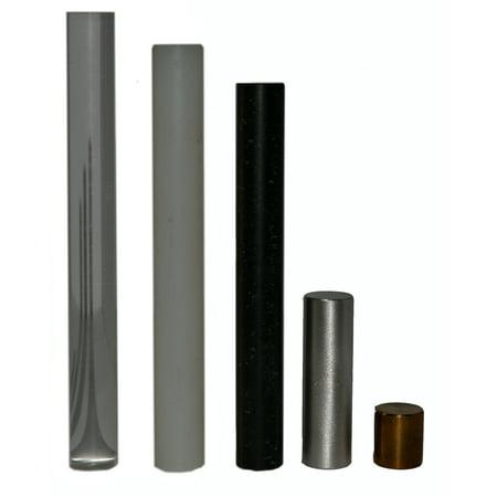 Eisco Labs Equal Mass Density Cylinder Set - Aluminum, Brass, Nylon, Acylic, and (Mast Cylinder)