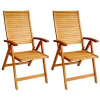 ALK Brands - Patio Outdoor Hardwood Logan Reclining Dining Arm Chairs, set of 2