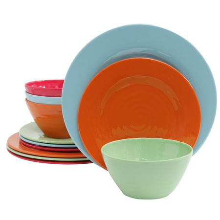 Brist 12 pc Dinnerware Set - 4 Assorted Colors - Solid - Melamine - 2480 g - Melamine Dish Set