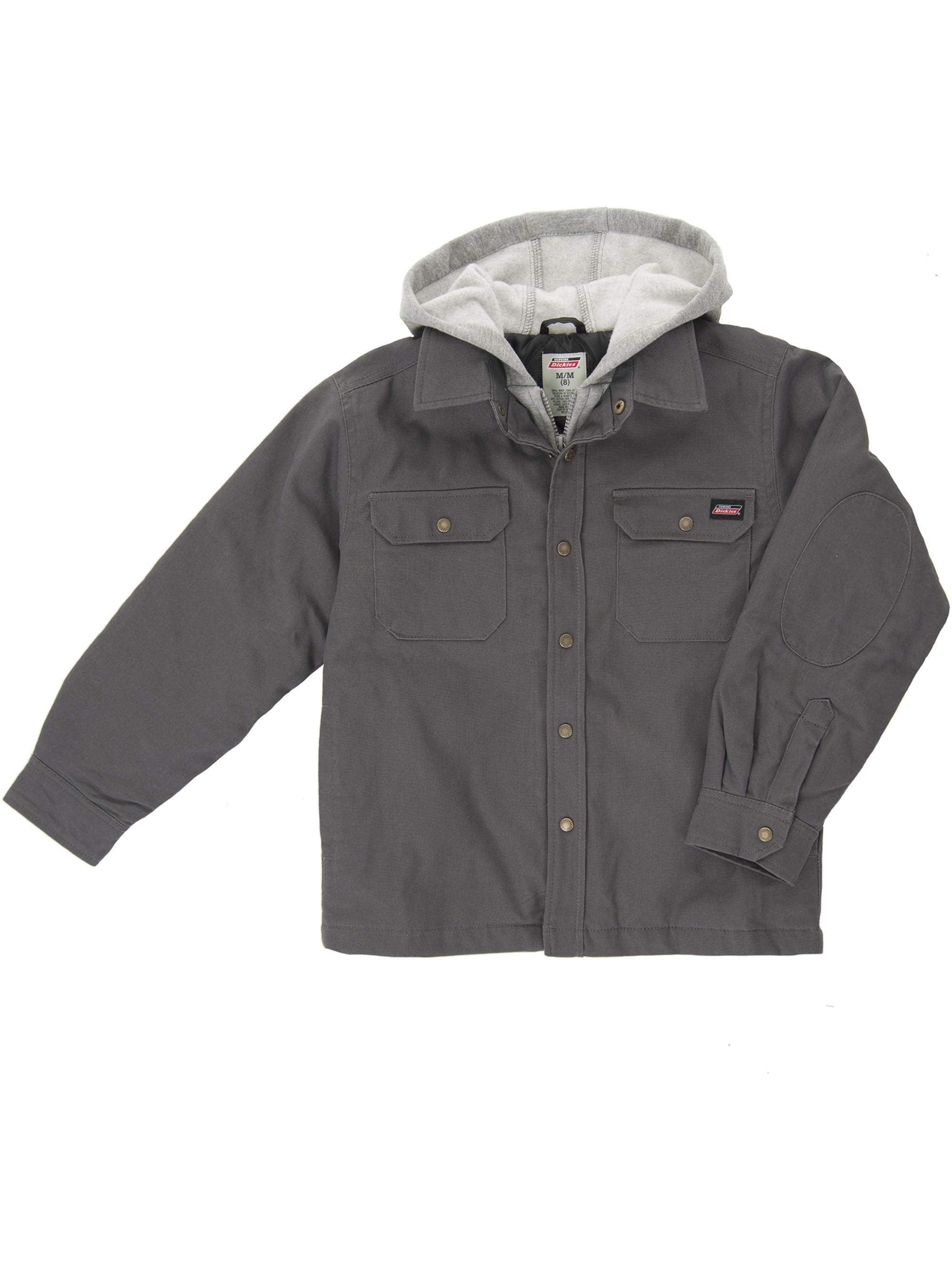 Dickies Boys' Long Sleeve Hooded Canvas Overshirt Jacket