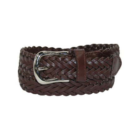 Size Large Boys Leather Braided Dress Belt (Pack of 2), Brown Brown Braided Belt