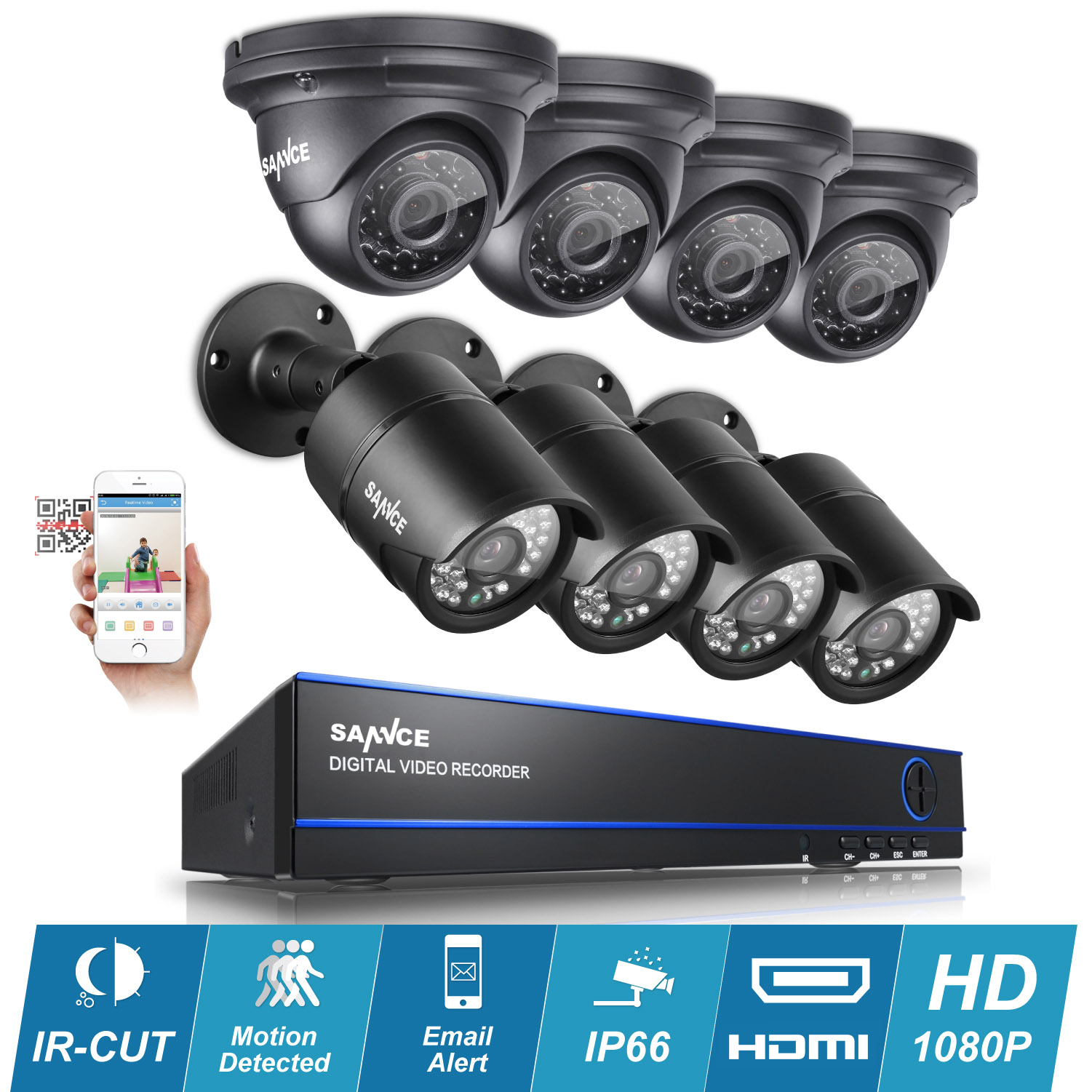 SANNCE 8 Channel 1080P AHD CCTV DVR Recorder with 8x 1920*1080p In/Outdoor Day Night IR-CUT Surveillance Video Security Camera System(Hard Drive Capacity is optional:0-NO HDD,1-1TB HDD,2-2TB HDD)