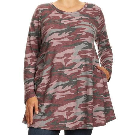 Womens Plus Size Long Sleeve Pocket Jersey Knit Tunic Top Tee Shirt USA Burgundy 1XL B517 AMY BNY Corner