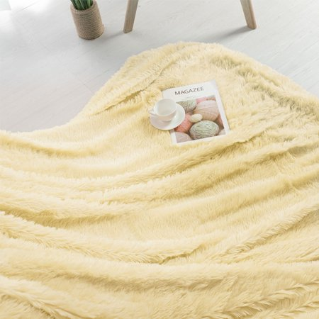 Luxury Soft Shaggy Faux Fur Blanket Ultra Blanket Twin 59