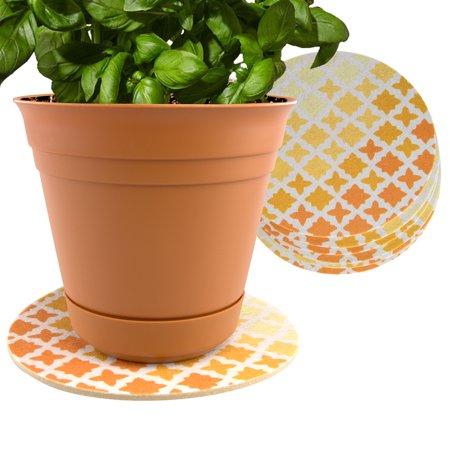 Plastec 6 Pack Indoor Plant Mat For Plastic Or Ceramic Flower Pot
