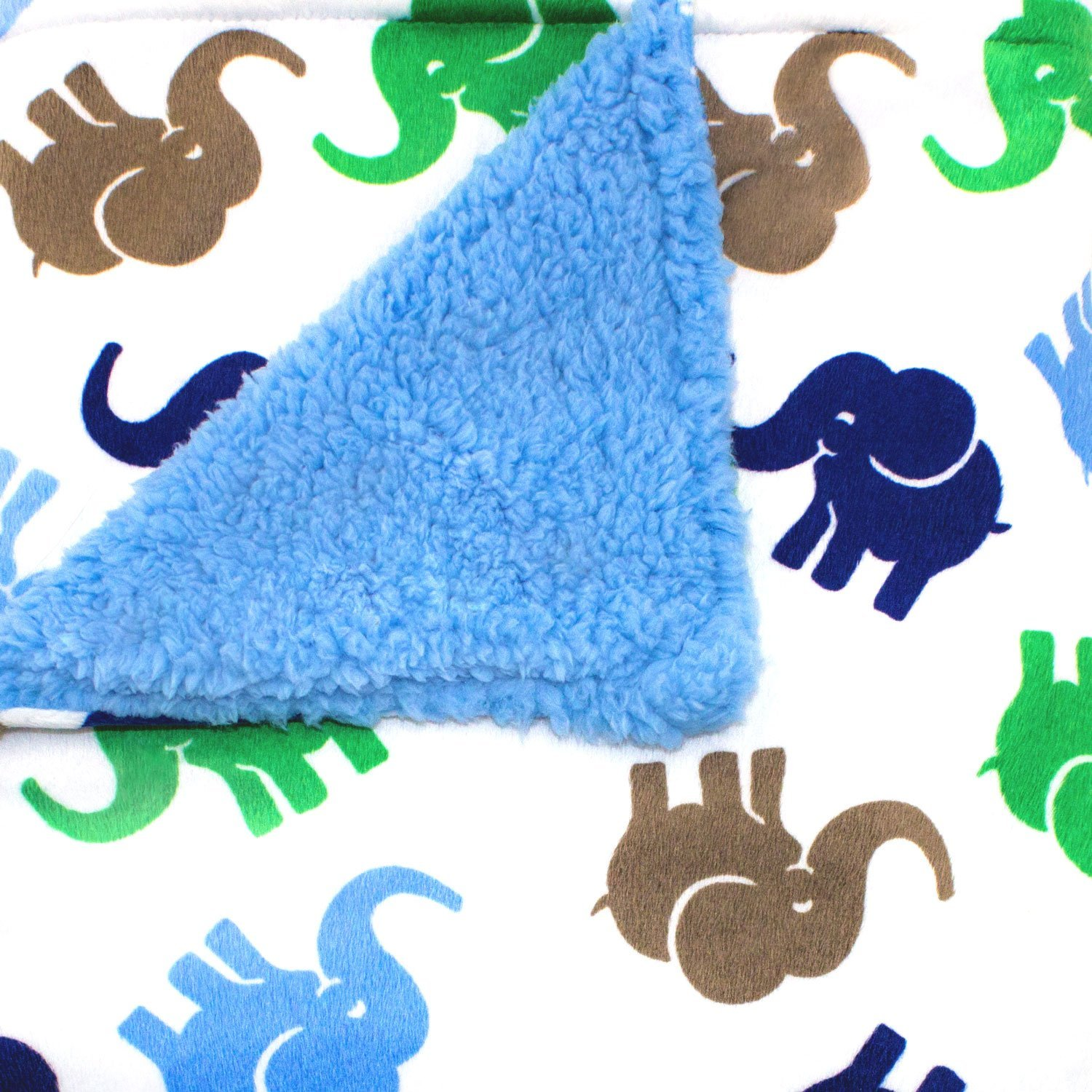 Super Soft Micro Mink Blue-Elephant Baby Blanket