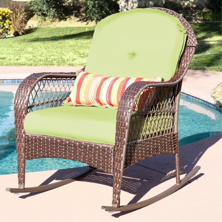 Childs Wicker Rocker - Best Choice Products Wicker Rocking Chair Patio Porch Deck Furniture All Weather Proof  W/ Cushions- Green
