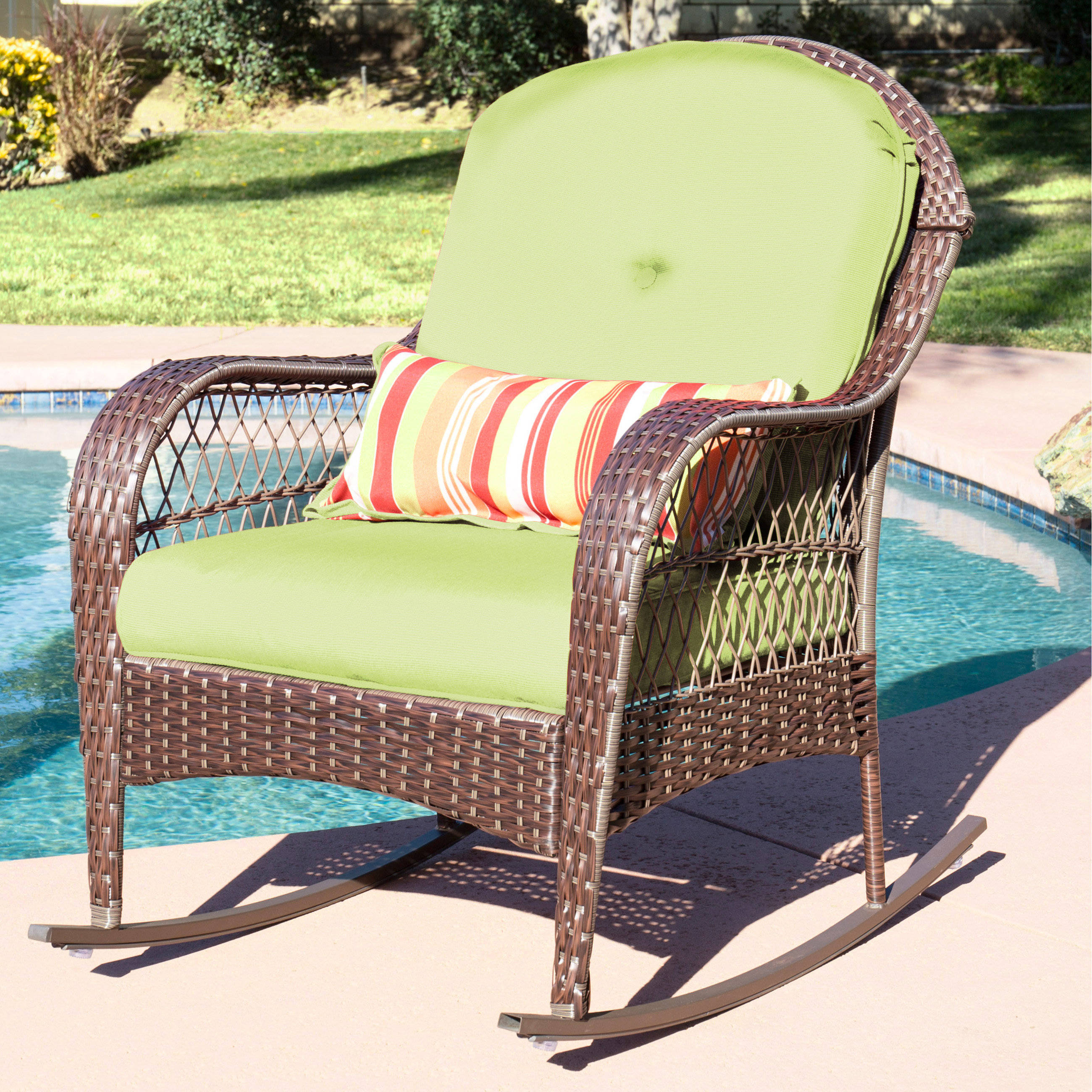 Product Image Best Choice Products Wicker Rocking Chair Patio Porch Deck  Furniture All Weather Proof W/ Cushions