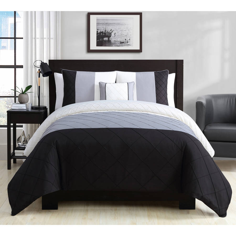Better homes and gardens banded oynx 4-piece pintuck colorblock bedding duvet cover set with shams and a decorative pillow, Full Black
