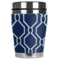 Mugzie brand 12-Ounce Travel Mug with Insulated Wetsuit Cover - Geometric