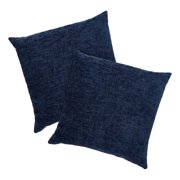 """Mainstays Chenille Decorative Square Throw Pillow, 18"""" x 18"""", Navy, 2 Pack"""