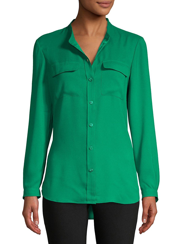 Collarless Utility-Pocket Shirt