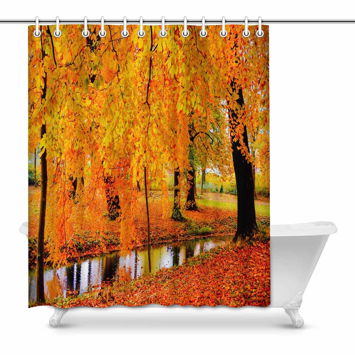 Golden Autumn Forest Waterproof Fabric Shower Curtain Liner Hooks Bathroom Mat