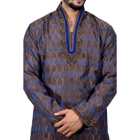 Indian Traditional Brocade Silk Multicolour Kurta Pajama for Men. This product is custom made to order. - image 3 de 6