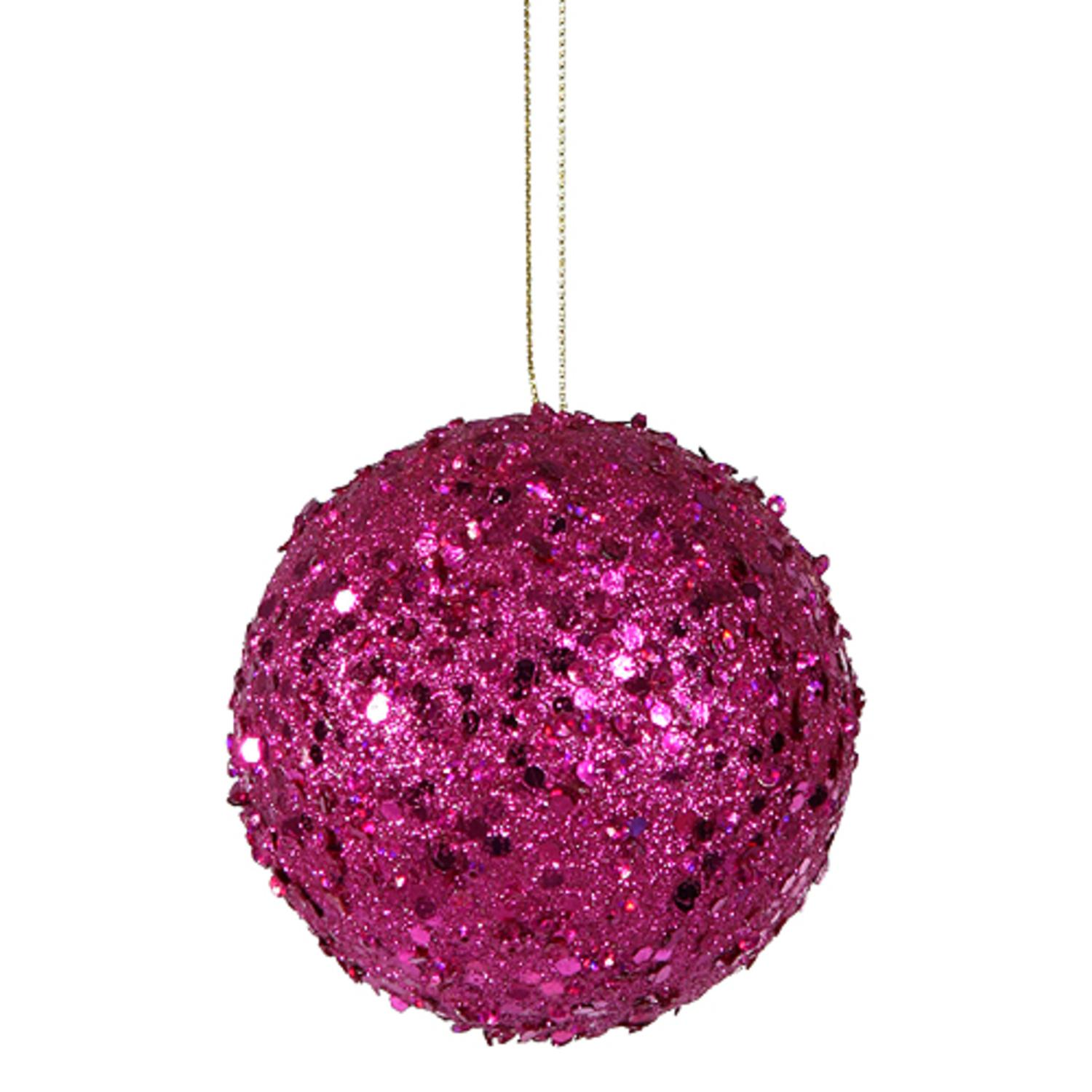 """Fancy Fuschia Pink Holographic Glitter Drenched Christmas Ball Ornament 4"""""""