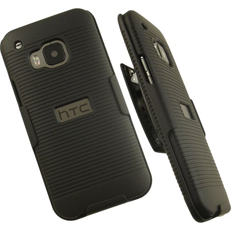NAKEDCELLPHONE'S BLACK RUBBERIZED RIBBED HARD CASE COVER + BELT CLIP HOLSTER STAND FOR HTC ONE M9 PHONE (Verizon, Sprint, AT&T, T-Mobile, Unlocked, HTC ONE M9, 2015