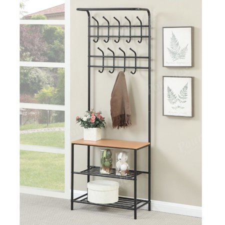Metal Coat Rack Hanger Hat Bag Stand Entryway Hall Tree Storage Awesome Metal Entryway Storage Bench With Coat Rack