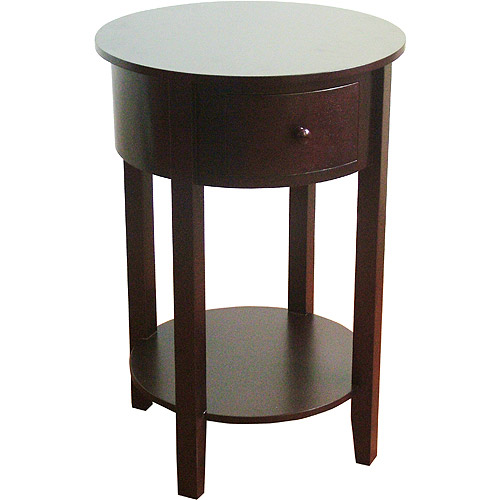 Round End Table with Drawer, Espresso
