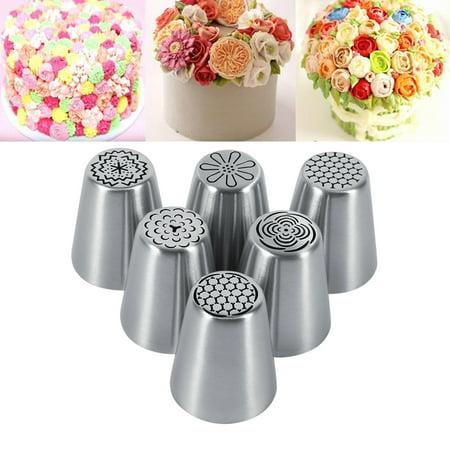 HERCHR Cake Nozzle, 6PCS Flower Cake Icing Piping Pastry Nozzles, Nozzles Piping Tips Cake Decorating Supplies Nozzles LARGE Cupcake Decorating - Halloween Cupcake Decorating Supplies