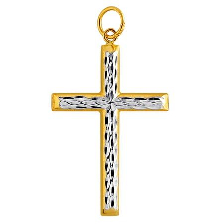 JewelryAffairs 14k 2 Tone Gold Diamond Cut Round Tube Cross (Two Tone Gold Tube)
