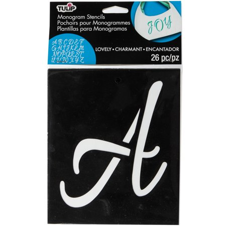 Tulip Medium Fabric Stencil Kit 26/Pkg-Lovely Monogram (Stencil Kit)