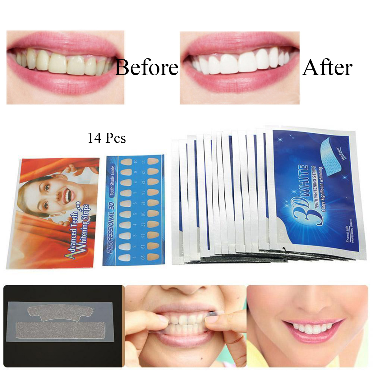 28 Strips 14 Pouches 3D White Gel Teeth Whitening Kit Home Bleaching Whitestrips Beauty