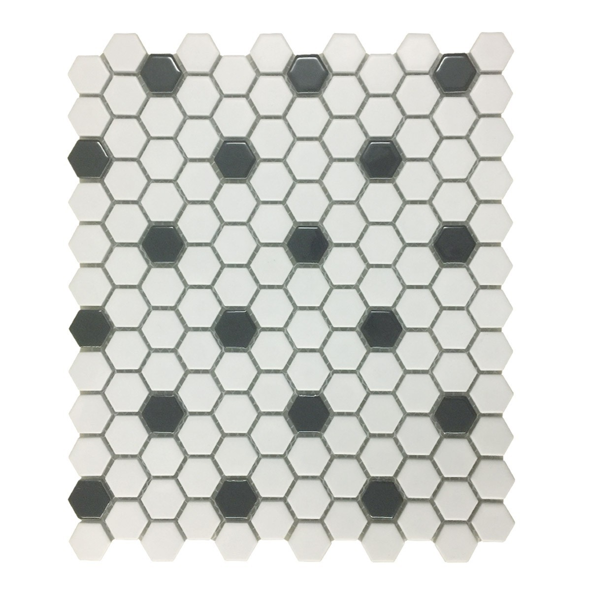 "White and Black Matte Floor Tile Porcelain Mosaic Hexagon 1 Sheet 10.25"" x 11.8"""