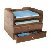 Bindertek Stacking Wood Desk Organizers, 2 Tray & 2 Drawer Kit, Cherry BDSWK8CH