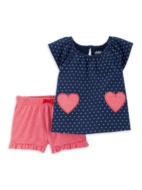 Child of Mine by Carter's Baby Girl Short Sleeve T-Shirt & Shorts Outfit, 2pc Set