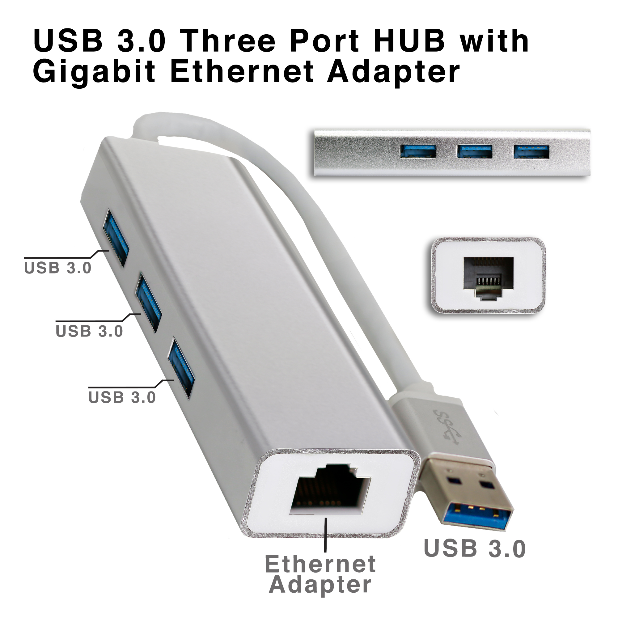 4 in 1 Three Port 3.0 HUB with Gigabit Ethernet Adapter - Silver
