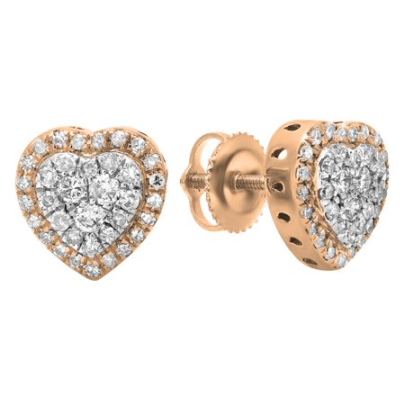 - 0.50 Carat (Ctw) 14K Rose Gold Round White Diamond Ladies Heart Shaped Stud Earrings 1/2 CT