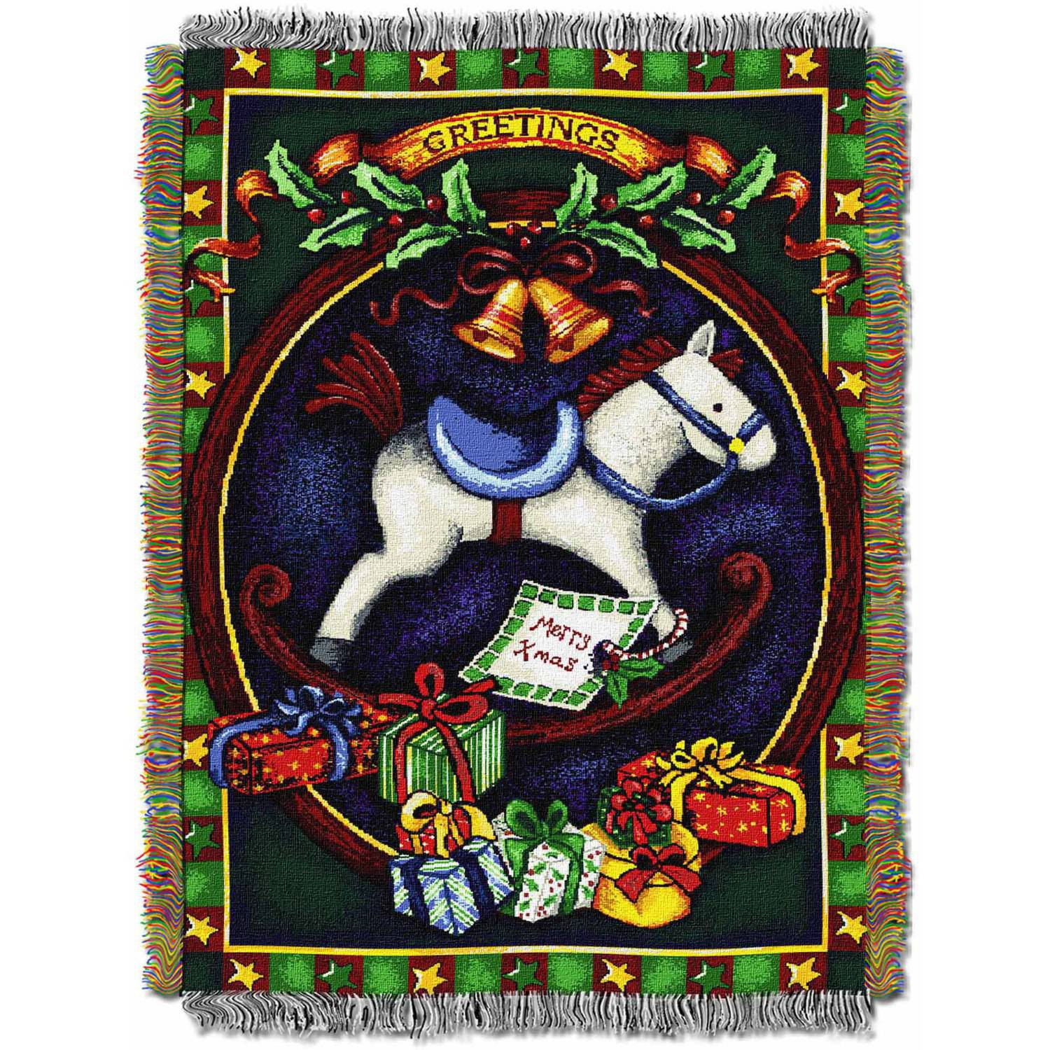"Holiday Hobby Horse 48"" x 60"" Holiday Woven Tapestry Throw"