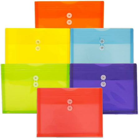 JAM Paper Plastic Envelope with Button and String Tie Closure, Letter Booklet, 9 3/4 x 13, Assorted, 6/pack Button Closure Poly Letter Envelope