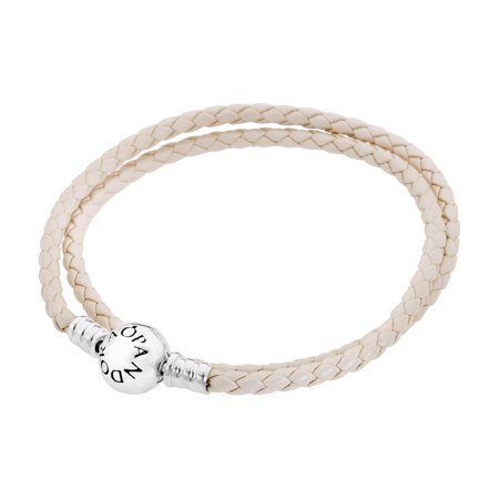 Ivory White Leather Bracelet 35 cm 590745CIW-D1 (35 Cm Natural)