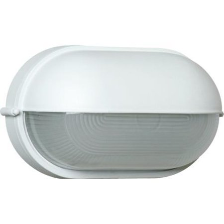 Outdoor Nautical Bulkhead Oval Wall Fixture, White Cast Aluminum, Frost Glass
